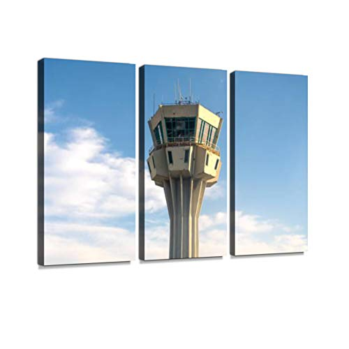 Air Traffic Control Tower Print On Canvas Wall Artwork Modern Photography Home Decor Unique Pattern Stretched and Framed 3 Piece