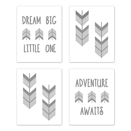 Sweet Jojo Designs Grey and White Woodland Arrow Wall Art Prints Room Decor for Baby, Nursery, and Kids for Mod Arrow Collection - Set of 4 - Dream Big Little One