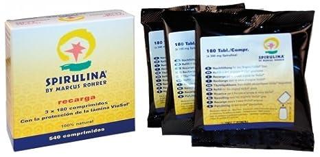 RECAMBIO ESPIRULINA 540 COMPRIMIDOS MARCUS ROHRER 3 X 180 COMPRIMIDOS: Amazon.es: Salud y cuidado personal