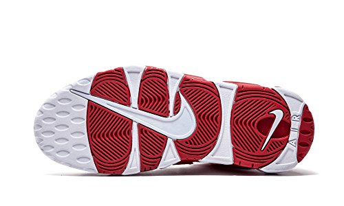 Nike Mens Air Meer Uptempo, Wit / Wit-gym Rood Wit, Wit-gym Rood