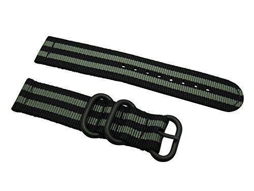 HNS-ZULUPATH-2-Pieces-20mm-James-Bond-007-BlackGrey-Ballistic-Nylon-Watch-Strap-3-PVD-Coated-Ring-ZU051