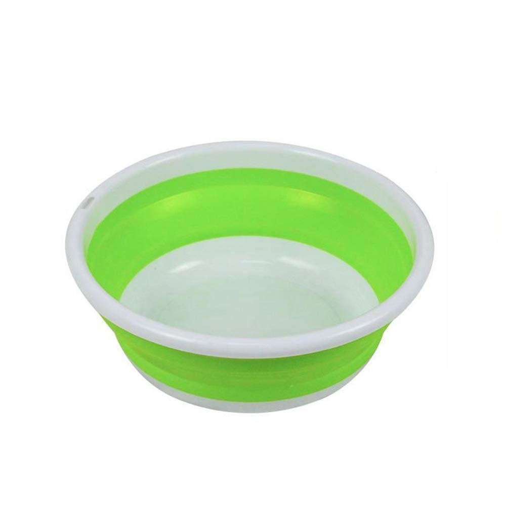 FNCUR Travel Multi-Function Folding Plastic Washbasin Silicone Foldable Children's Washbasin Light Washbasin Home Kitchen Use Large Size (Color : Green, Size : XL) by FNCUR