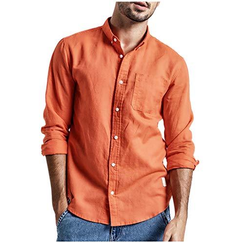 Bsjmlxg Summer Fashion Mens Solid Color Simple Casual Comfortable Linen Cotton Long Sleeve Shirt Top Blouse Orange