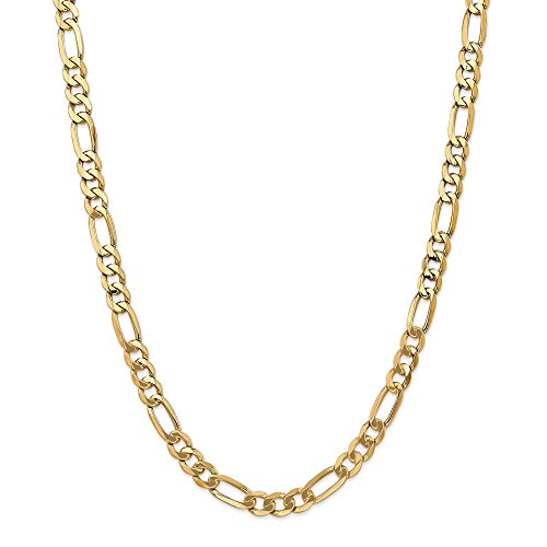 (FB Jewels 14K Yellow Gold 7mm Flat Figaro Chain Necklace)