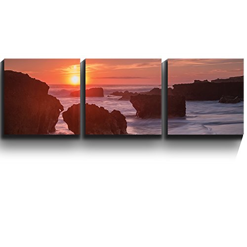 3 Square Panels Contemporary Art Rocks are surrounded by ocean mist Three Gallery ped Printed Piece x 3 Panels