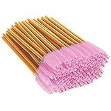 XVbond 100 PCS Disposable Eyelash Mascara Brushes Mascara Wands Applicator Eyebrow Brush, Eyelash Applicator Brush Makeup Applicators Kit (Golden-Pink) (Color: Golden-Pink)