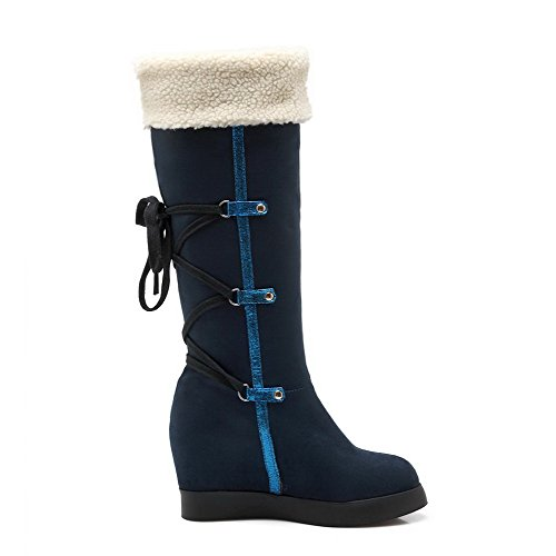 Closed Mid Imitated AmoonyFashion Toe 36 Suede Womens Heels High Royalblue Boots Round Top Solid Z554wq8