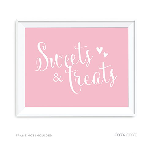 Andaz Wedding Party Signs, Blush Pink, 8.5x11-inch, Sweets & Treats Dessert Table Sign, 1-Pack