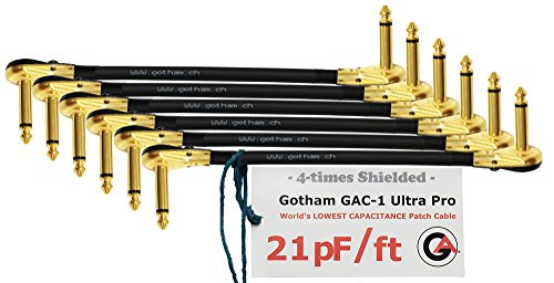 6 Units - 15 Inch - Gotham GAC-1 Ultra Pro - Low-Cap (21pF/ft) Guitar Bass Effects Instrument, S-Shaped Patch Cable & Gold (6.35mm) Low-Profile R/A Pancake Plugs - CUSTOM MADE By WORLDS BEST CABLES ()