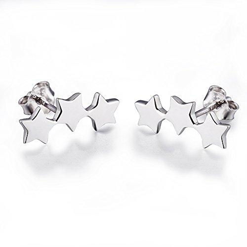 (925 Sterling Silver Hypoallergenic Climber Ear Cuff Star Stud Earrings for Women Girls)