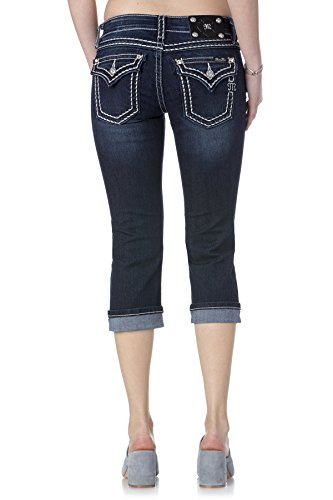 Miss Me Big Stitch Cuffed Capri Dark Blue