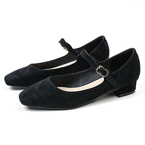 Con Irregular Femeninos Cuadrada Zapatos Sujetador El Mujer De De Zapatos Cabeza Solo Zapatos GAOLIM Negro La Baja En Con Palabra 5cm Resorte 2 C7wpvqOx