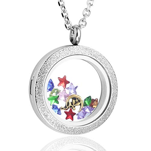 Zysta Silver Round Locket Pendant Necklace 25mm Glitter Matte Stainless Steel Clear Glass Living Memory Floating Charms Stone Storage -