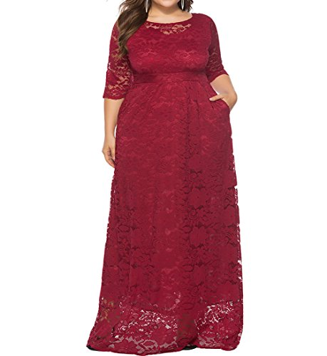 Eternatastic Womens Floral Lace 2/3 Sleeves Maxi Dress Evening Party Long Dress 3XL Red