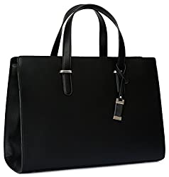 Premium Laptop Bag/Handbag For Women - Durable Computer Carrier Messenger Bag For College Students, Office Workers & Businesswomen | High End &Fashionable Tote Bag For Laptops/Notebooks (Black)