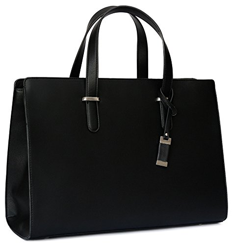 BLON'S Bags - Laptop Bag For Women 15.6 inch Large Tote Handbag for Your Business Documents Notebook Safe Unique & Practical Briefcase for Computer Accessories Vegan Leather Shoulder Bag(Black)