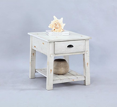 (Progressive Furniture T410-04 Willow Rectangular End Table, White)