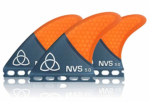 Naked Viking Surf: Medium NV-5.0 Thruster Surfboard Fins (Set of 3 Fins) Orange Carbon Fiber, Futures