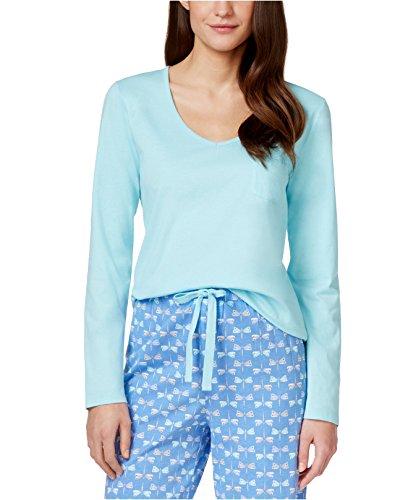 (Charter Club Long-Sleeve Pajama Top (Medium, Eternal Aqua))