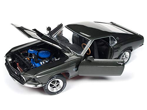 1969 Ford Mustang Boss 429 Black Jade Muscle Car & Corvette Nationals (MCACN) Limited Edition to 1002 Pieces Worldwide 1/18 Diecast Model Car by Autoworld AMM1152