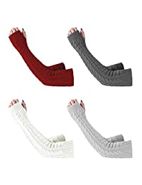 CAIYING 4 Pairs Womens Winter Knit Long Fingerless Gloves - Thumbhole Arm Warmers (Color 1-(Wine Red/Dark Grey/Light Grey/White))