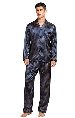 Tony & Candice Men's Classic Satin Pajama Set Sleepwear (Blue/Golden, X-Large)