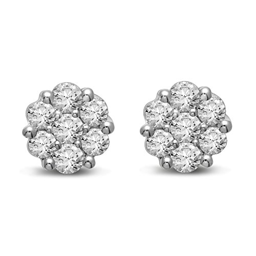 Diamond Jewel 14K Gold Diamond Flower Cluster Stud Great Value by Diamond Jewel