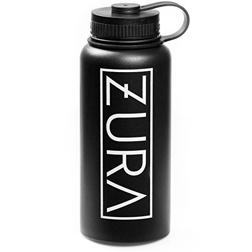 ZURA Vacuum Insulated Stainless Steel Water Bottle (32 OZ/1 Liter) – Double Walled and Wide Mouth Construction – Reusable, Sweat Proof Perfect for Outdoor Sports, Yoga, Hiking, Cycling – Black