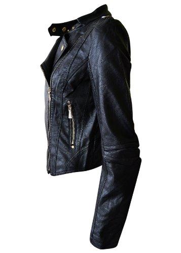Blouson Biker Noir Or Noroze cuir Bouton couper Pu Faux Pvc Femmes qSxz6BPp