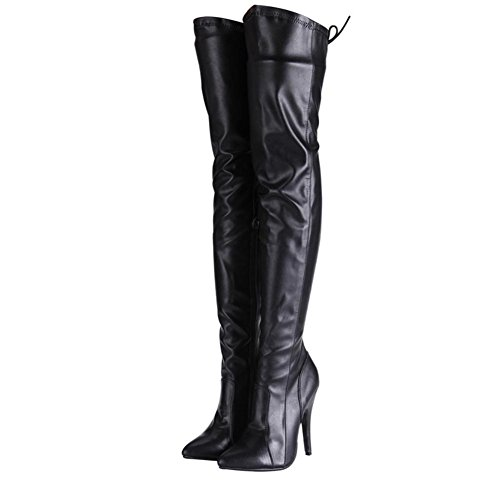Cuir Noir 2 Cuisse Breveté Stretch Automne Delight Haut Lace Hiver Nouvelle de Pointe Nightclub NVXIE Toe Dames Femmes up Mode Bottes Long Boot Party EUR35UK3 Talon Sexy fTBqT4Unwx