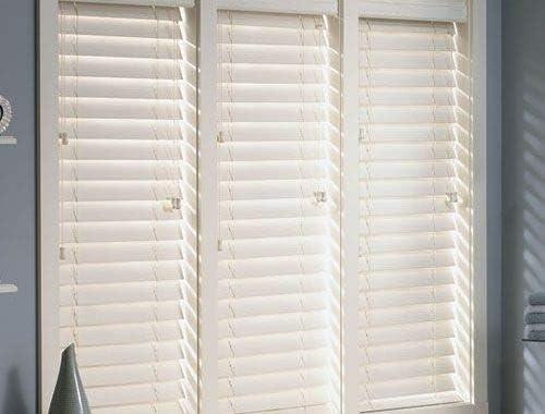 Premium White 2 1 2 Inch Faux Wood Blind 36 1 4 W x 48 L Actual Size 35 3 4 x 48