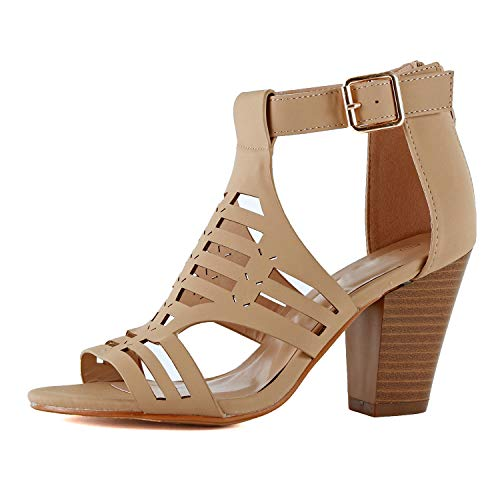 - Womens Strappy Cut Out Perforated Open Toe Shoe Block Chunky Mid Heel Comfortable Sandals (8 M US, Tanv9 Nub)