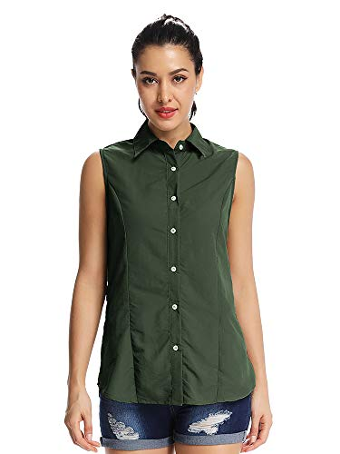 Women's Quick Dry Vest Sun UV Protection Sleeveless Shirts for Hiking Camping Fishing Sailing #5056,Army Green,XL