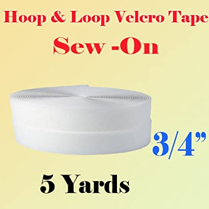 3/4 (0.75 Inches) Width Black or White Sew on Hook & Loop - Premium Grade Non-adhesive Sew-on Style Sold Includes Hook and Loop Both Side Interlocking Tape Sold By 5, 10, 27 Yards (White - 10 yards) DisplaySignMart
