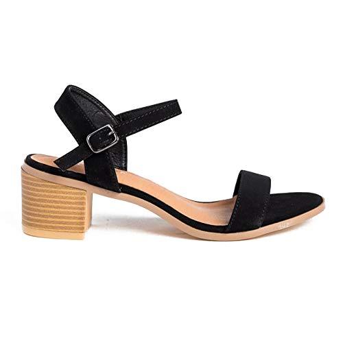 (Women's Single Band Ankle Strap Chunky Block Low Heel Sandal Grain01 Black 5.5)