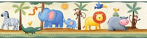 New Peel & Stick JUNGLE SAFARI ANIMALS WALLPAPER BORDER Baby Nursery Wall - Wallpaper Safari Border