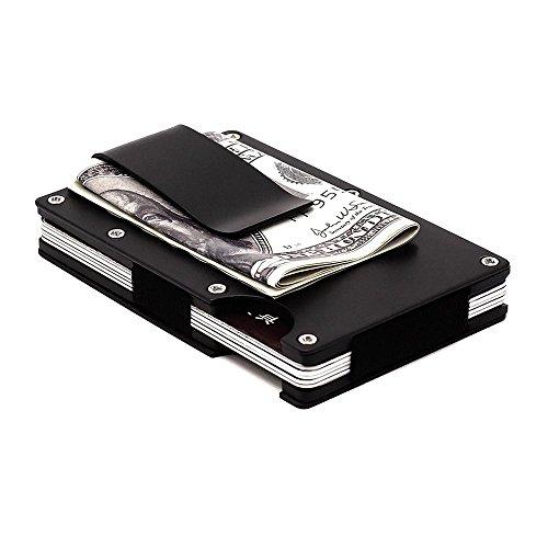 Metal Wallet Credit Card Holder, Business Aluminum Slim Money Clip Wallet with RFID (Black)