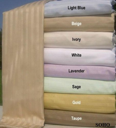 SOHO Bed Sheet Set 100% Egyptian Cotton Sateen Stripe 600 Thread Count.(Gold) Full SOLD BY VANESSA CLASSIC - Soho Fitted Sheet