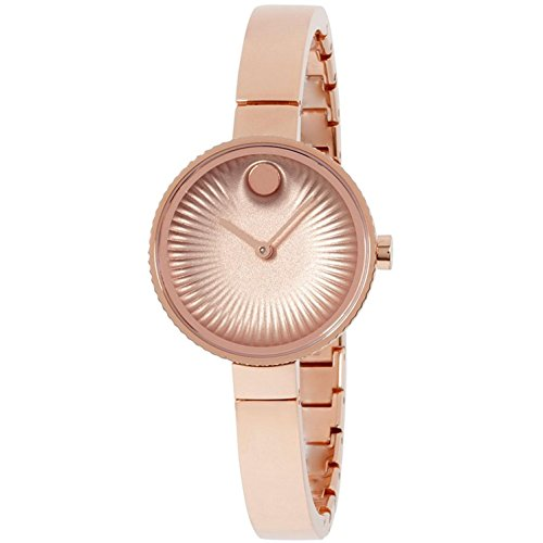Movado Womens Swiss Edge Rose Gold Stainless Steel Bangle Bracelet Watch 3680022