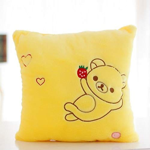 JEWH Kawaii Rilakkuma Plush Pillow Toys with Led Light - Cute Teddy Bear Light Up Stuffed Toy Glow in Dark Children Kids (Yellow) -