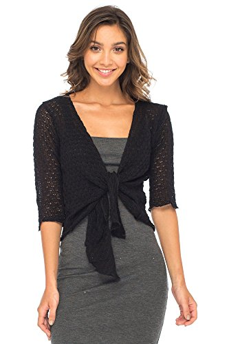 Back From Bali Womens Shrug Cardigan 100% Cotton Lightweight Knit Sweater Tie Front Black (Black Tie Sweater)