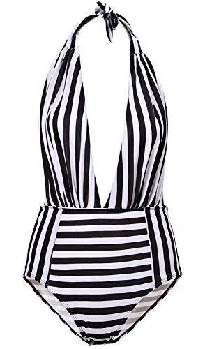 MIEDEON Vintage 50s Pin Up Halter Monokinis One Piece Swimsuit for Women (Stripe, S)