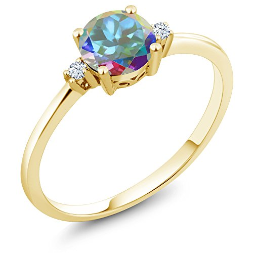 Mercury Topaz Set (10K Yellow Gold Engagement Solitaire Ring set with 1.03 Ct Mercury Mist Mystic Topaz and White Created Sapphires)