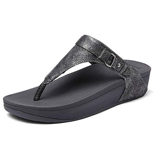 Womens Flip Flops Thongs Sandals TPR Outsole Pain Relief Thick Sole Metallic Wedge Heels Beach Slippers