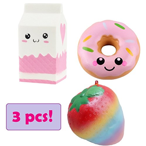 Jumbo Squishy Toys 3 pcs Rainbow Strawberry Milk Carton and Donut, Slow Rising, Scented, Stress Relief, Focus, Fun, Kawaii Toy For Kids and Adults by Forhana