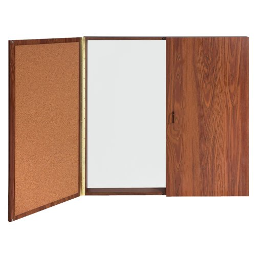 - Ghent Conference Cabinet - Porcelain Magnetic Whiteboard w/Cork on Interior of Doors - Oak