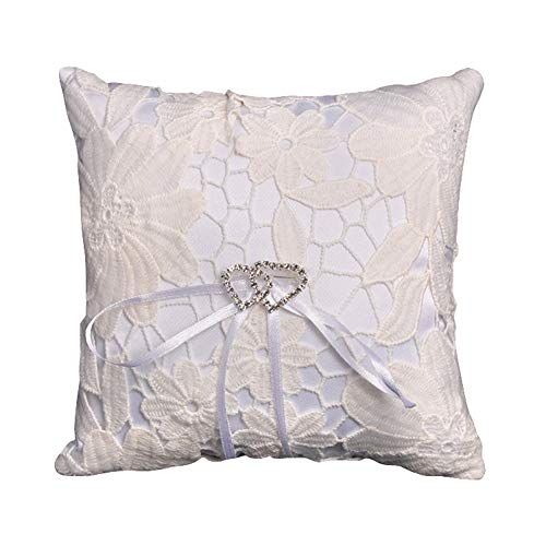 Teensery 1010cm Lace Wedding Pocket Ring Pillow Cushion Embroider Flower with Ribbons for Wedding Engagement Ceremony Party