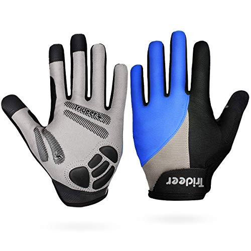 Trideer Touch-Screen Cycling Gloves, Mountain Road Gloves Anti-Slip Shock - Absorbing Silica Gel Grip, Bicycle Racing Gloves Biking Gloves(Full Finger Blue, XL (Fits 8.7-9.5 inches))