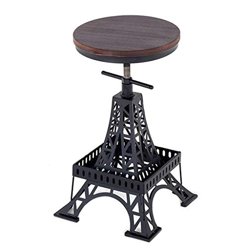 LAZ Swivel Bar Stools Industrial Vintage Adjustable Height Round Top Pub Bistro Kitchen Dining Side Chair Barstools with Footrest (Size : Stool) ()