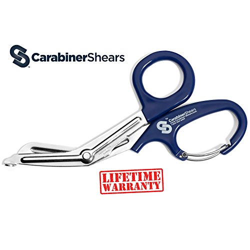 EMT Trauma Shears with Carabiner - Stainless Steel Bandage Scissors for Surgical, Medical & Nursing Purposes - Sharp Curved Scissor is Perfect for EMS, Doctors, Nurses, Cutting Bandages [Blue]